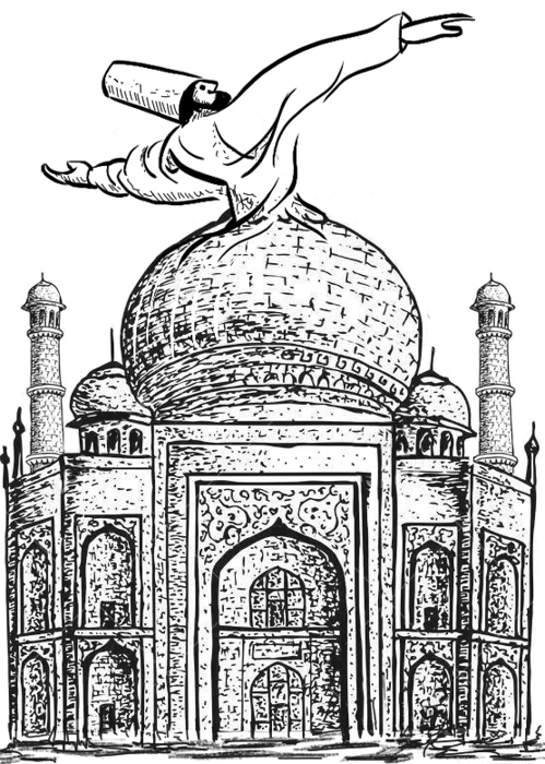 Derwisj op moskeekoepel die ook zijn rok is.