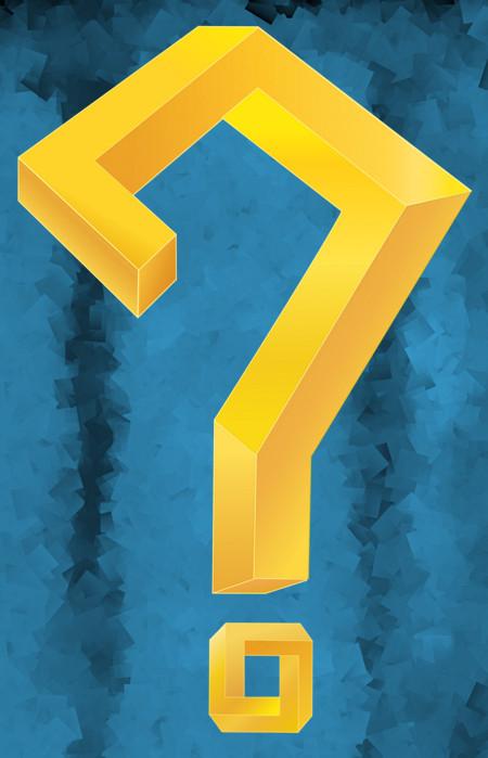 Gouden vraagteken in de vorm van een onmogelijk figuur tegen een blauwe achtergrond.