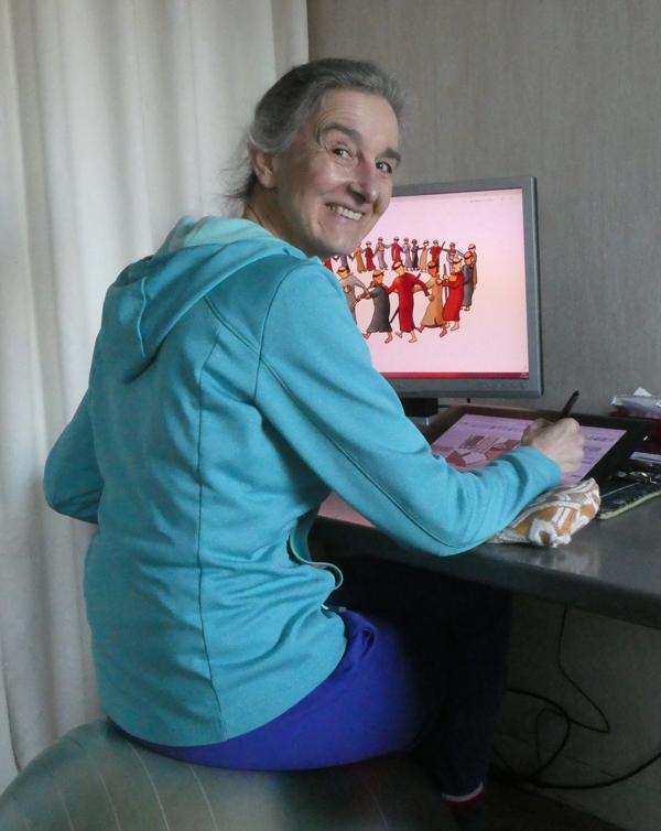 Lucienne van Dam van NietWeten.nl aan haar tekentafel.