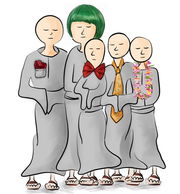 Vijf grauwe zenmonniken uitgedost met respectievelijk een pochet, een groen kapsel, een strik, een stropdas en een bloemenkrans.