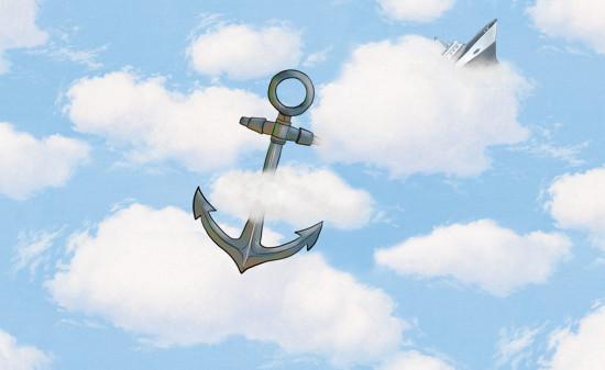 Wolkenlucht met zwevend anker en zinkend schip.