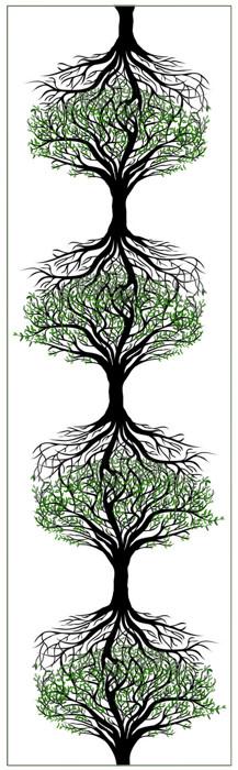 Droste-effect met een boom waarvan de wortels naadloos overgaan in de kroon van een kopie van zichzelf.