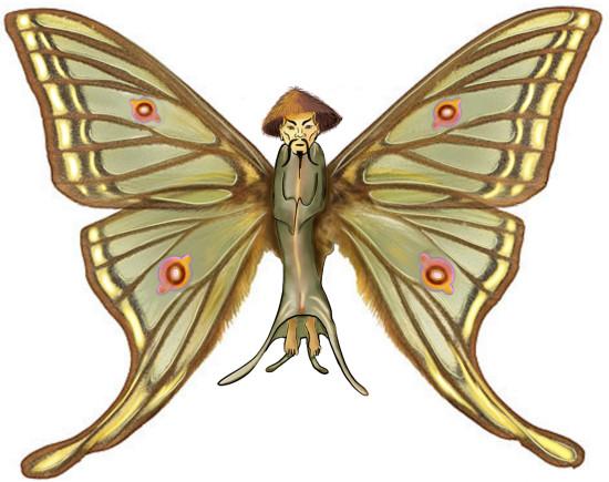 Vlinder met een lijfje dat de taoïstische wijsgeer Zhuang Zi voorstelt.