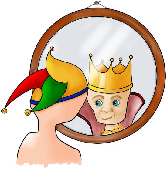 Nar die in de spiegel een koning ziet.