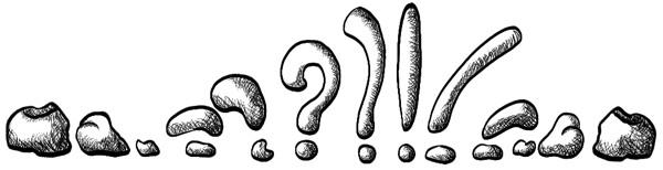 Metamorfose van een stip in een vraagteken in een uitroepteken in een vraagteken in een stip.