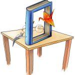 Tafeltje met daarop een uitgehold boek en een kapotte leesbril.