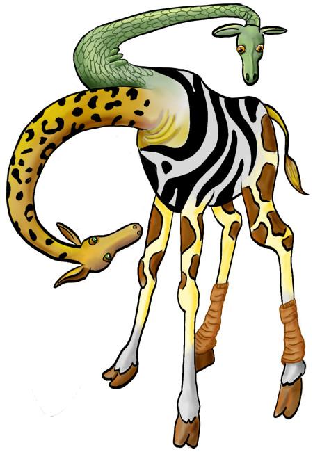 Giraf met zebrastrepen, pantervlekken, slangenhuid en slobkousen, die met twee koppen tegelijk zichzelf staat te bekijken.