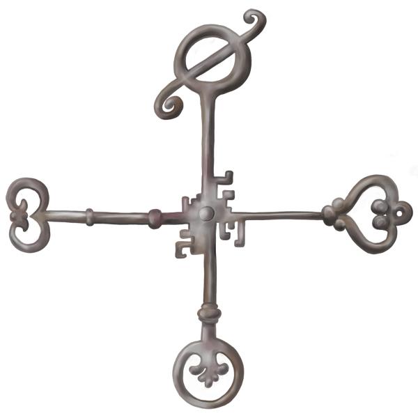 Kruis van vier sleutels met in het kruispunt een gemeenschappelijke baard (die dus op geen enkel slot past).
