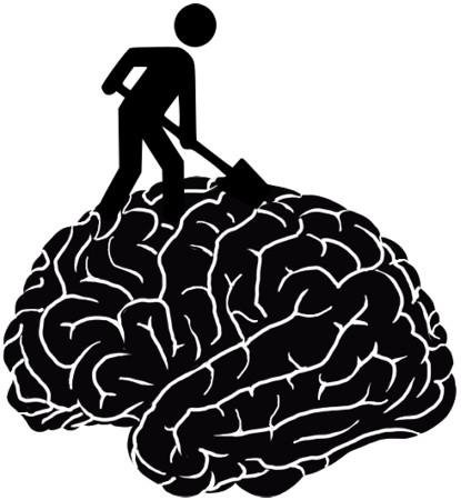 Silhouet van een wegwerker die in hersenen schept.