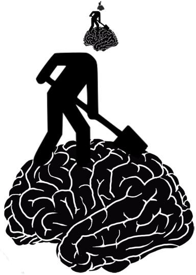 Droste-effect van een wegwerker die in de hersenen schept van een wegwerker.