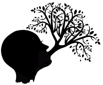 Hoofd met een boom die uit de mond groeit.