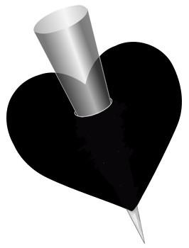 Silhouet van een hart met een spies erdoor.