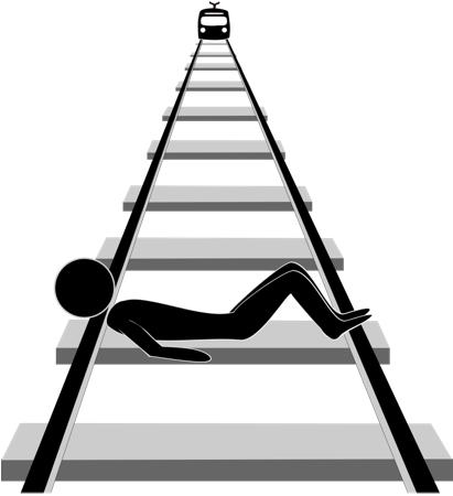 Silhouet van een figuurtje liggend op de rails.