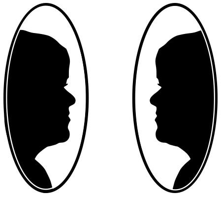 Twee spiegels die hetzelfde gezicht (van Byron Katie natuurlijk) naar elkaar weerspiegelen.