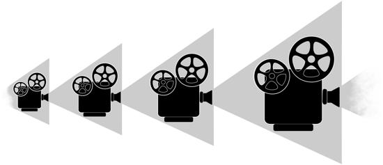 Droste-effect van een piepkleine projector die een grotere projector projecteert die een grotere projector projecteert...