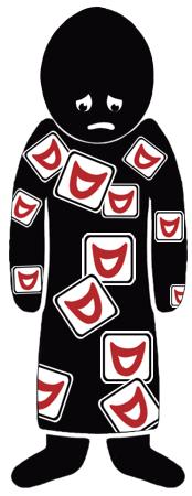 Silhouet van een somber figuur met allemaal stickers van lachende monden op zijn jas.