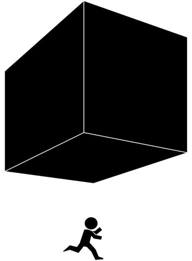 Silhouet van een rennend figuurtje onder een vallend blok.